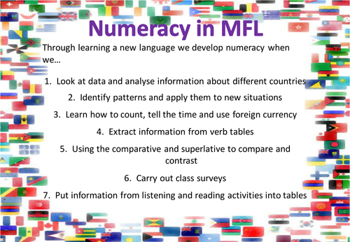 Tenses and Levels, Literacy, Numeracy and SMSC in MFL Displays