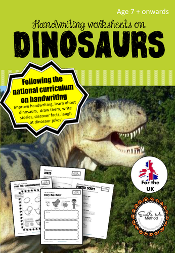 cursive handwriting worksheets for 7 11 years dinosaurs ks1 ks2 by helpwithhandwriting. Black Bedroom Furniture Sets. Home Design Ideas