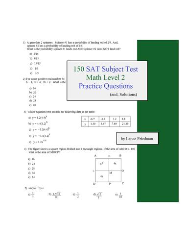 150 SAT Subject Test - Math LEVEL 2 practice questions
