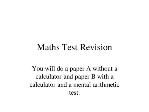 Maths Sats Revision