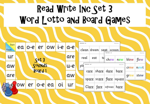 Phonics Read Write Inc Set 3 Word Lotto And Board Games Teaching Resources