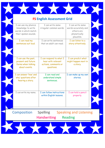 Foundation Stage Reading Assessment bookmark and writing assessment grid