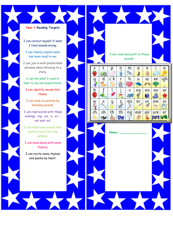 Year 1 Reading assessment bookmark and writing grid NEW CURRICULUM