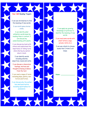 Year 4 NEW CURRICULUM  assessment for reading bookmark and writing grid child speak