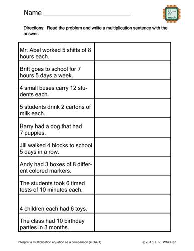Create Multiplication Sentences Worksheet   4.OA.1 ...