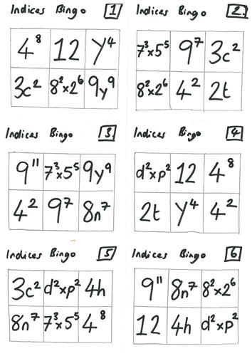 Indices (Index Laws) Lesson & Bingo Activity