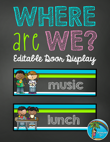 Where Are We?  EDITABLE Door Display