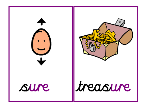Phase 3:' ure' grapheme [as in sure, treasure] - 4 activities and powerpoint of words