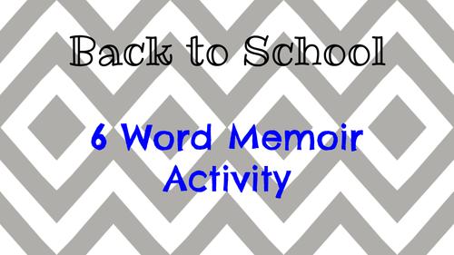 6 Word Memoir Back to School Activity