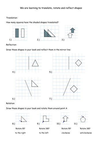 Translation, Rotation and Reflection Worksheets