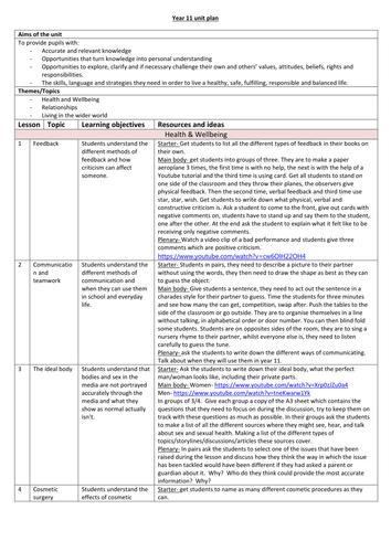 Year 11 PSHE Unit Plan