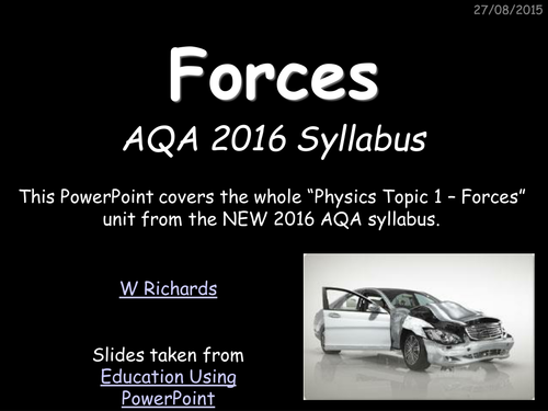 2016 AQA Physics topic 5 - Forces