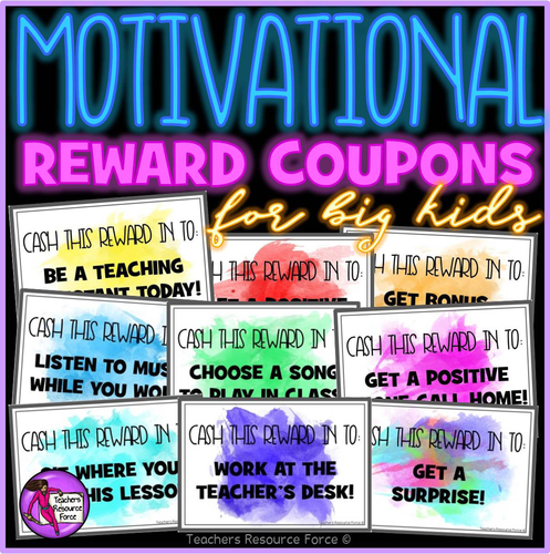 Behaviour Management: Motivational Rewards Coupons