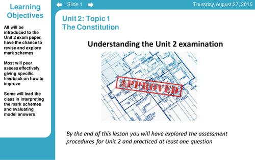 BUNDLE* Government & Politics AS (Edexcel) Unit 2 Topic: The Constitution
