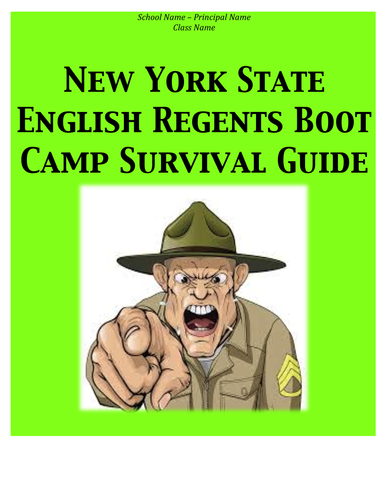 New York State English Regents Boot Camp Survival Guide