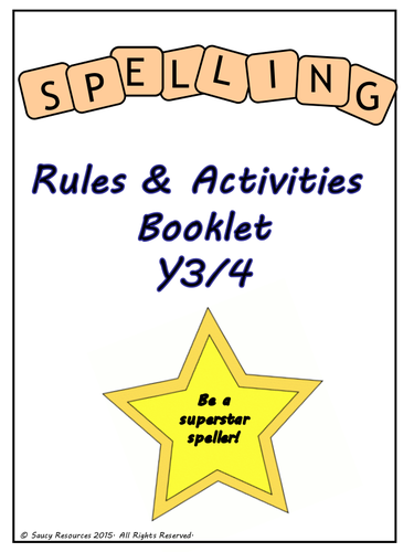 spelling rules activities booklet for y3 4 new curriculum for the whole year by mrsminchin. Black Bedroom Furniture Sets. Home Design Ideas