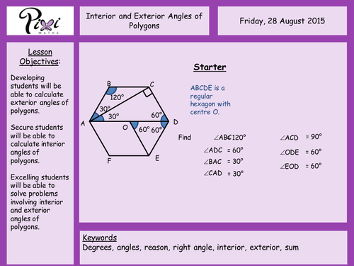 Interior And Exterior Angles Of Polygons By Aframe Teaching Resources Tes