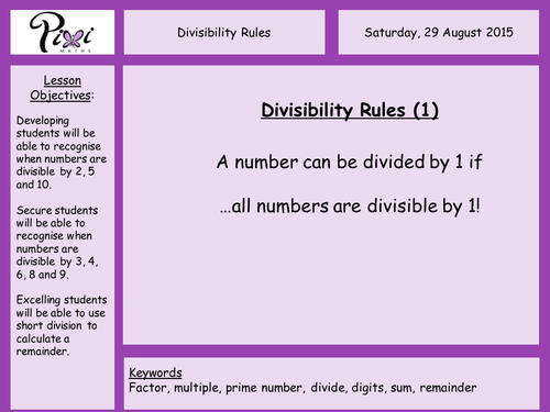 Tests for divisibility by danwalker Teaching Resources Tes – Divisibility Rules Worksheets Grade 6