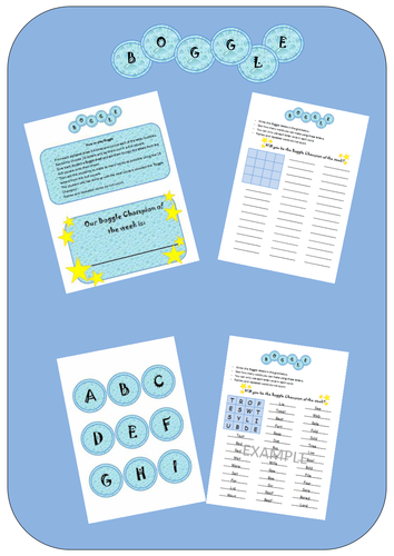 Boggle Spelling Activity