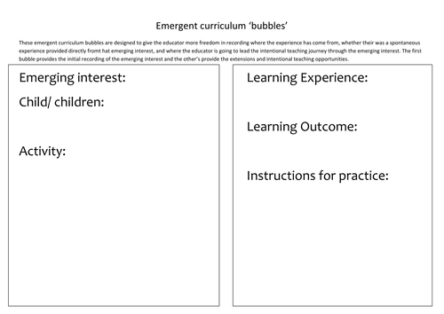 Emergent curriculum additional templates