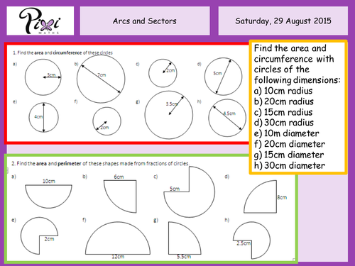 Arcs and sectors by PixiMaths Teaching Resources Tes – Area of Sector Worksheet