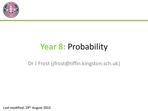 Probability Year 8 By Drfrostmaths Teaching Resources Tes