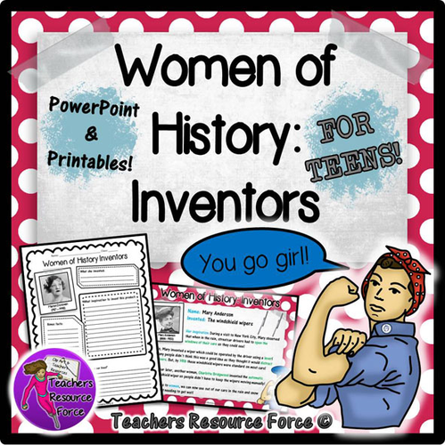Women's History Month: Female Inventors PowerPoint and worksheets
