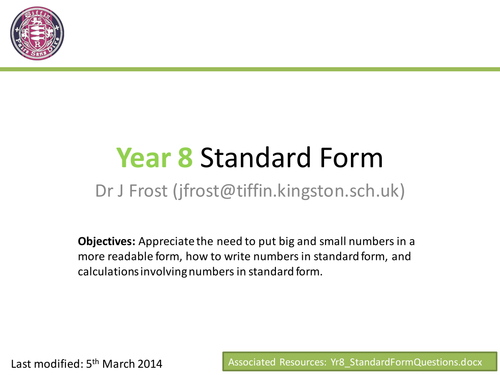 Standard Form By Drfrostmaths Teaching Resources Tes