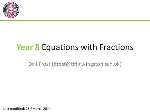 Equations with Fractions by DrFrostMaths | Teaching Resources
