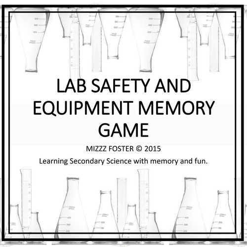 Lab Safety And Equipment Memory Game Classic Bw Version By