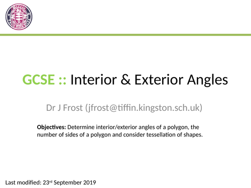 Polygons And Interior Exterior Angles By Drfrostmaths Teaching Resources Tes