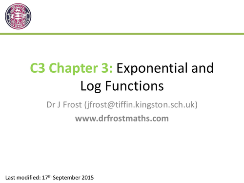 C3 - Chapter 3 - Exponential & Log Functions
