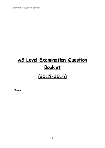 AS Level PE AQA PHED 1 Homework Booklet and Markscheme