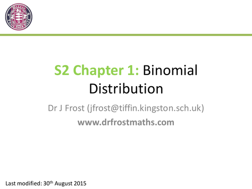 S2 Chapter 1 Binomial Distribution by DrFrostMaths Teaching – Binomial Distribution Worksheet