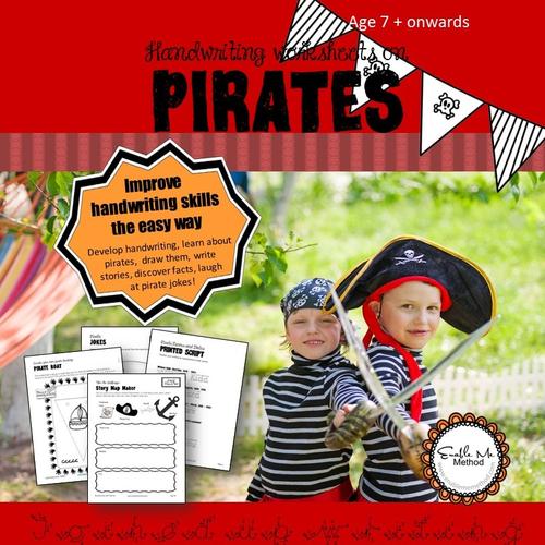Cursive Handwriting Worksheets for 7 -11 years: Pirates, KS1 & KS2