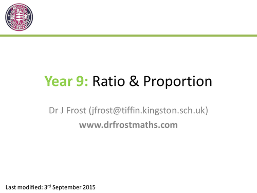 Ratio & Proportion (Year 9) by DrFrostMaths - Teaching Resources - Tes