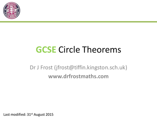 Gcse Circle Theorems By Drfrostmaths Teaching Resources Tes