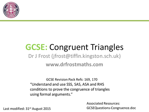 Gcse Congruent Triangle Proofs Teaching Resources