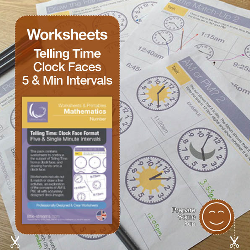 Telling Time | Worksheets/Printables | Five and Minute Interval Clock Faces