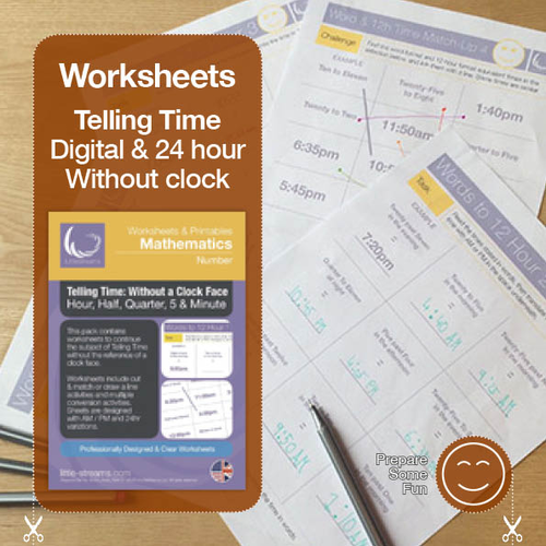 Telling Time | Worksheets/Printables | Telling the Time without a Clock Face