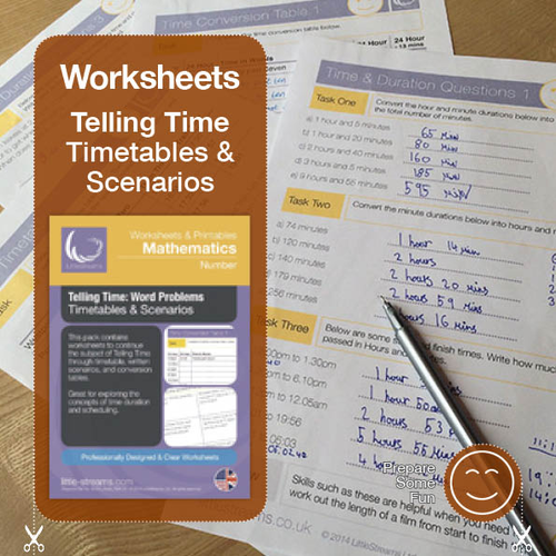 Telling Time | Worksheets/Printables | Word Problems, Timetables and Scenarios