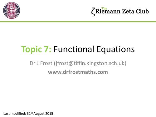 Riemann Zeta Club - Chapter 7 - Functional Equations