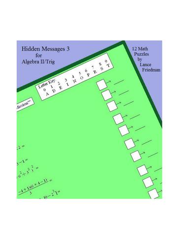 HIdden Message Puzzles 3 - Algebra 2 Trig