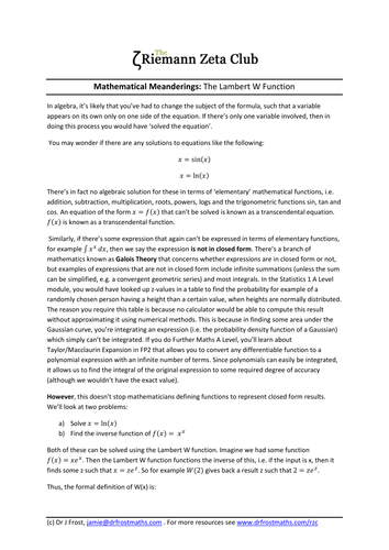 Riemann Zeta Club - Article - Lambert W Function