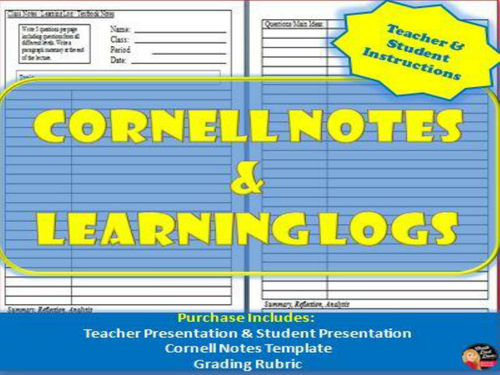 Cornell Notes Learning Logs Teacher And Student Instructions