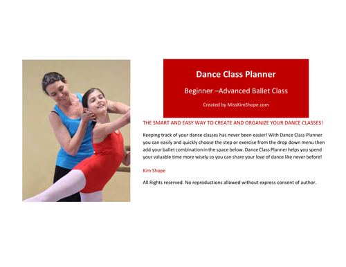 Dance Class Planner for Ballet Beginning to Advanced Classes For Ballet Instructors