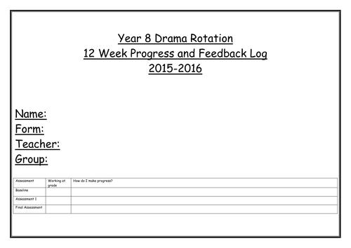 Drama progress, assessment and  verbal feedback records