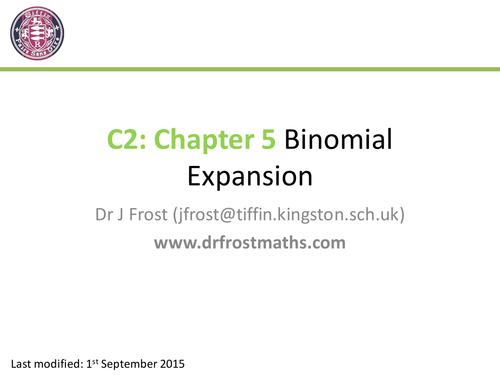C2 Chapter 5 Binomial Expansion by DrFrostMaths Teaching – Binomial Theorem Worksheet