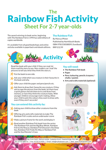 The Rainbow Fish Activity Sheet By Youngwriters Teaching Resources