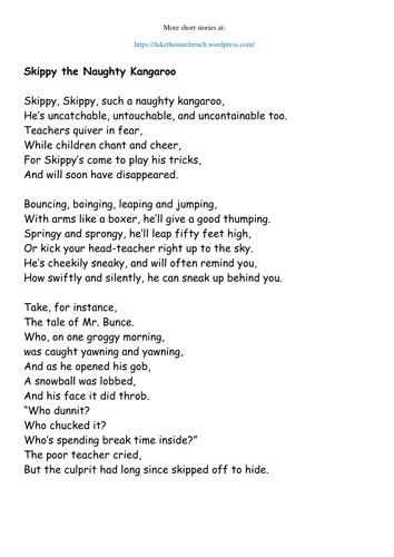 narrative poem example (ks2 years 3-4) by flukos - teaching